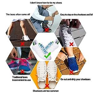 DECYOOL 6 Pairs No Tie Shoe Laces Elastic Tieless Shoelaces, One Size Fits All Adult & Kids (Color: Multicolor)