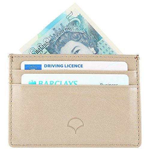 Natural 07 Wallet Beige Pockets Black Card 5 Slim Giftbox Genuine Leather Holder Blocking Design RFID amp; Credit Leather HZnxBqf6wA