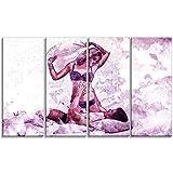 Designart Man and Wife Pillow Fight Sensual Metal Wall Art - MT2928 - 48x28 - 4 Panels