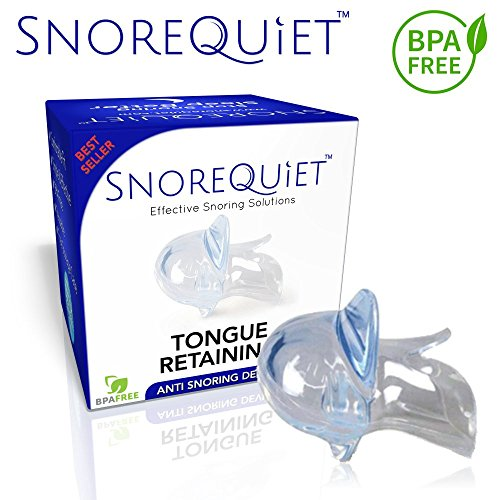 Stop Snoring Retainer Pacifier Sleep Aid Solution Anti Snoring Tongue Retaining Device by SnoreQuiet - Snore Quiet Mute Buster Mouth Guard Devices For A Good Morning (2018)