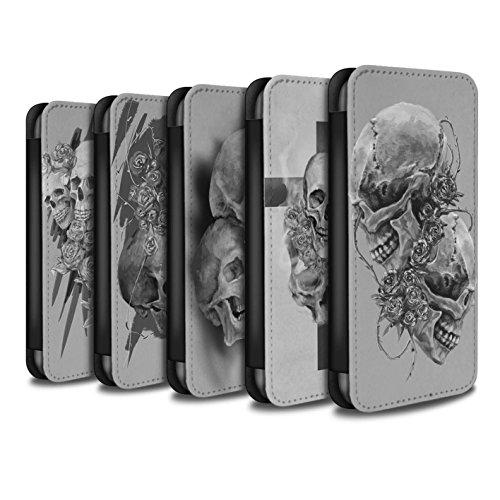 Stuff4 Coque/Etui/Housse Cuir PU Case/Cover pour Apple iPhone X/10 / Pack 5pcs Design / Crâne Art Croquis Collection