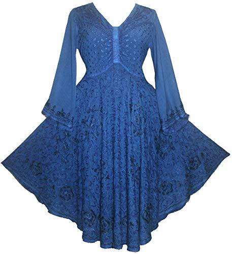 Agan Traders 117 D Butterfly Bell Sleeve Dress (Large, Blue Dress)