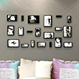 iHappy DIY 3D Wooden Wall Stickers Rectangle Photo Frame Set of 10, Black
