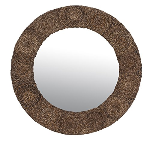 East at Main Andromeda Natural Contemporary Round Abaca Mirror, 32''x2''x32'' by East At Main