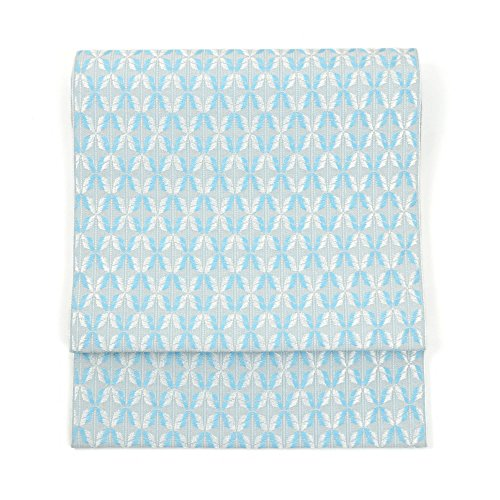 平行注文暴行博多織 八寸 名古屋帯 正絹 アイス七宝 ブルー