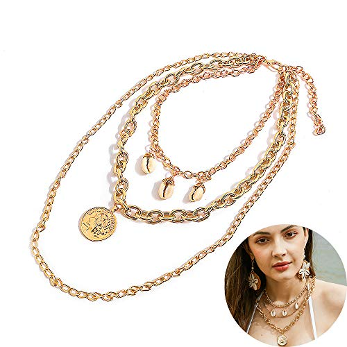 (Jurxy Shell Multi-Layer Portrait Round Coin Pendant Necklaces Bohemian Statement Temperament Choker for Mother's Day Anniversary Birthday)