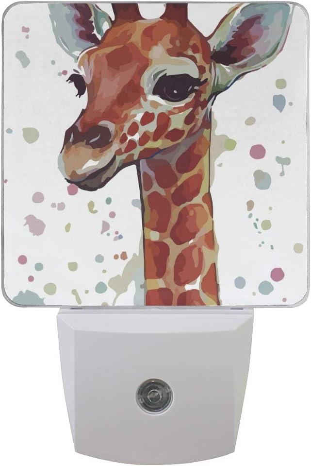 Printing Watercolor Giraffe Dots Patterns on Plug-in LED Night Light Warm White Nightlight for Bedroom Bathroom Hallway Stairways(0.5W 2-Pack)