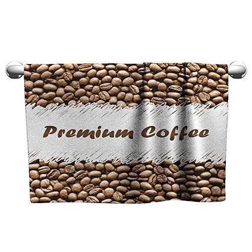 Andasrew Personalized Hand Towels Coffee,Freshly Roasted Arabica Beans Premium Quality Doodle White Border Being Robust,Cocoa White,wrap Towel for Women