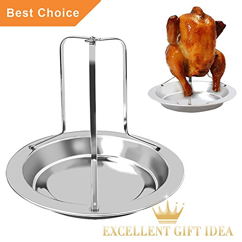 KALREDE Chicken Roaster Rack Beer Can - Folding Stainless Steel Vertical Roaster Chicken Holder with Drip Pan for Oven or Barbecue - Grill Accessories (7.68 by 6.5 Inch )