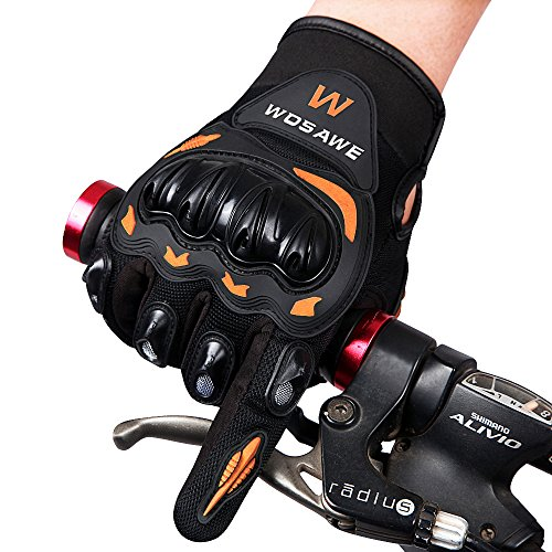 WOSAWE Motorcycle Gloves Outdoor Tactical Gloves, Full Finger, Orange, Size XL