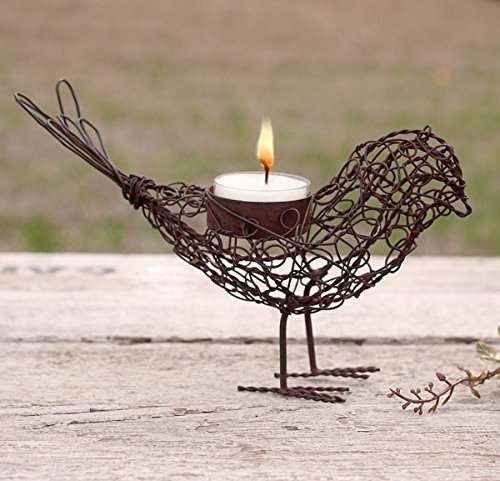 Colonial Tin Works 460100GR Cute Wire Bird Statue Figurine Decoration Tea Light Candle Holder with Feet, Metal, Rustic Primitive Farmhouse Style Decor, Brown Rust Color, 1 Piece (Candle Statue)