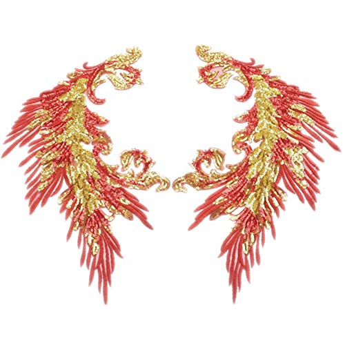 Sequins Embroidery Phoenix Peacock Feather Tail Applique Sewing Patches for Cloth Wedding Stage Accessories (red)