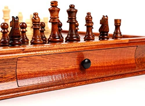 Schaken jumbo Magnetic Travel Chess Set, massief hout met lade Schaken, Gift for Travel Chess Lovers and leerlingen Beginner Schaak schaakspel (Grootte : M)