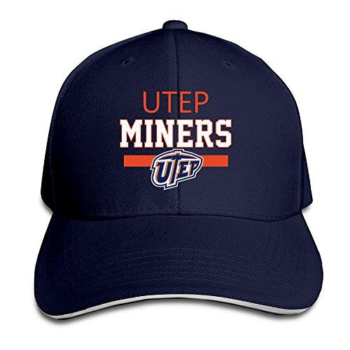 Price comparison product image Unisex UTEP Miners Fashion Adjustable Sandwich Peaked Sun Cap / Hat Navy