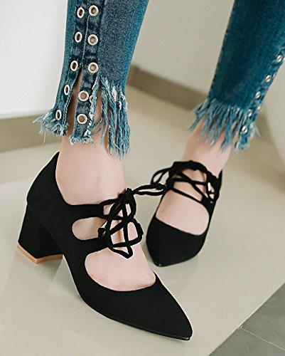 Zapatos De Tacón Alto Con Aberturas En El Talón De Gilly Tie Strainty FeHombresino De Los Hombres Zapatos De Salón Con Tacón Medio Club Lowy Bombas Gruesas Negras