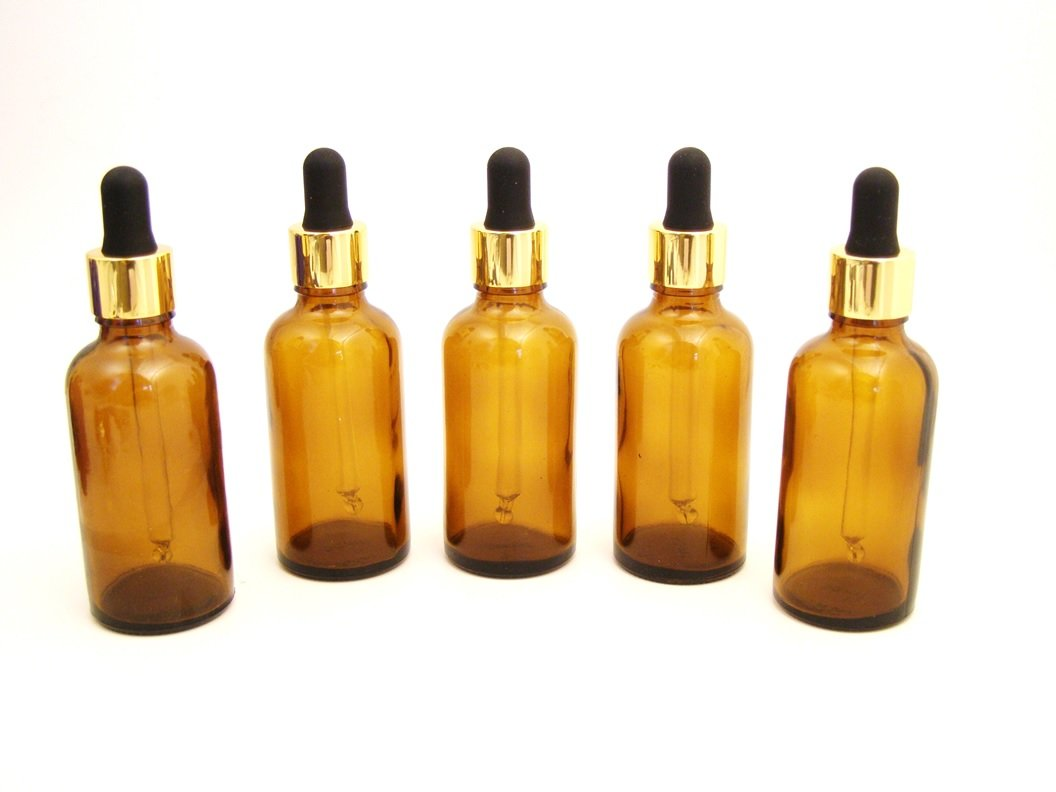 5 x AMBER Glass Aromatherapy Bottle with Premium Pipette (Gold Collar and Black Silicone Bulb). Choose Size: 10ml, 30ml, 50ml and 100ml Aromatherapy Bottle. Top quality empty AMBER glass bottle suitable for Aromatherapy, Art, Crafts, First Aid, Male Groom