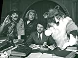 Vintage photo of Alan Cumming as Lord Baden Powell, Patrick Barlow as Christopher Columbus, Rory McGrath and Tony Slattery as Lassie.
