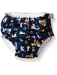 Boys Snap Reusable Absorbent Swimsuit Diaper, Light Blue...