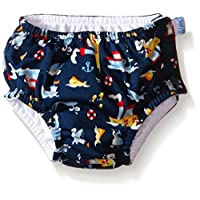 i play. Baby Boys' Snap Reusable Absorbent Swim Diaper, Navy Tugboat, 6 Month...
