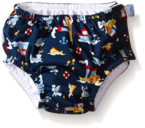 i play. Baby Snap Reusable Absorbent Swim Diaper, Navy Tugboat, 24 Months