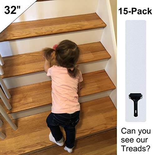 """Anti Slip Stair Treads Non-Slip Clear Tape (15-PACK) Premium Home 32""""x4"""" Transparent,No Stair Damage! NON-Abrasive for Child Safety, Pets Elders Indoor Outdoor Waterproof, Easy Adhesive Install NO PVC"""