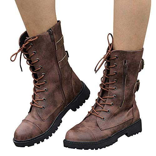 Military Rome Boots Size Toe 8 Boots Brown Round Boots BaZhaHei 2 Cowboy Combat 5 Lace Riding Women's Martin Zipper Classics up Roman Boots Shoes Calf Motorcycle Boots Mid Zipper 5xnXqBwS