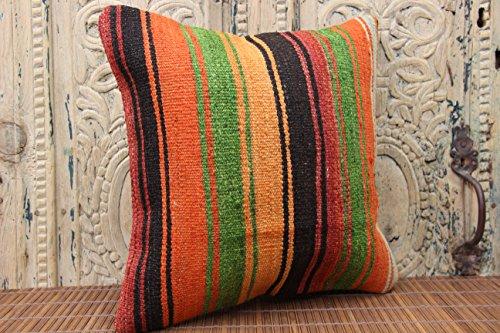 Stripe kilim pillow cover 16x16 inch (40x40 cm) Anatolian Kilim pillow cover Sofa Decor Tribal Pillow cover Cushion Cover (Anatolian Striped Kilim Rug Cushion)