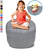 BeanBob Stuffed Animal Storage Bean Bag Chair in Grey – 2.5ft Large Fill & Chill Space Saving Toy Organizer for Children – For Blankets, Teddy Bears, Clothes & Bedding