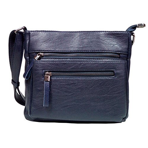 BINCCI Leather Crossbody Bag Women's Shoulder Handbag for Work, Leisure, Travel BL001A (Rosetti Blue Purse)