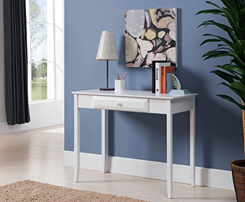 Kings Brand Furniture HO240 Wood Home & Office Parsons Desk with Drawer, White