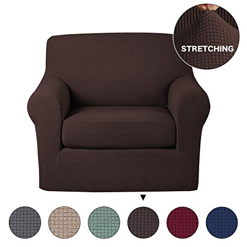 Turquoize Armchair Slipcover 2 Piece Chair Couch Spandex Form Fit Slipcover Machine Washable Stylish Furniture Cover Jacquard Checked Pattern Fabric Furniture Protector Shield (Chair-Chocolate)
