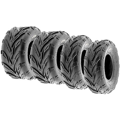 Set of 4 SunF A004 ATV & Go-Kart Tires 16x6-8 Front & 16x7-8 Rear, all-terrain Track Trail, 6 PR, Tubeless