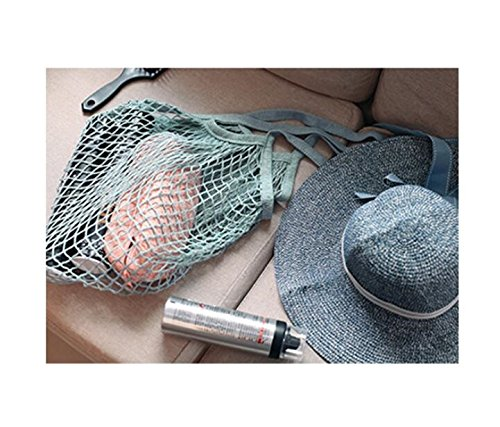Bozhiyi Eco-Friendly Shopping Bags Handmade Handbag Bags Simple Design Net Pocket(Blue)