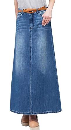 Gaga - Falda Larga de Jean para Mujer (Talla Grande) - Azul - US ...