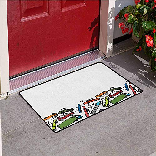 Gloria Johnson Cars Universal Door mat Collection of Hand Drawn Toy Cars Clustered Colorful Pattern Children Friendly Design Door mat Floor Decoration W19.7 x L31.5 Inch Multicolor