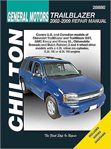chilton total car care chevrolet trailblazer, gmc envoy, oldsmobile bravada  & rainier 02-09 (chilton's total car care repair manual): chilton:  9781563929625: amazon.com: books  amazon.com