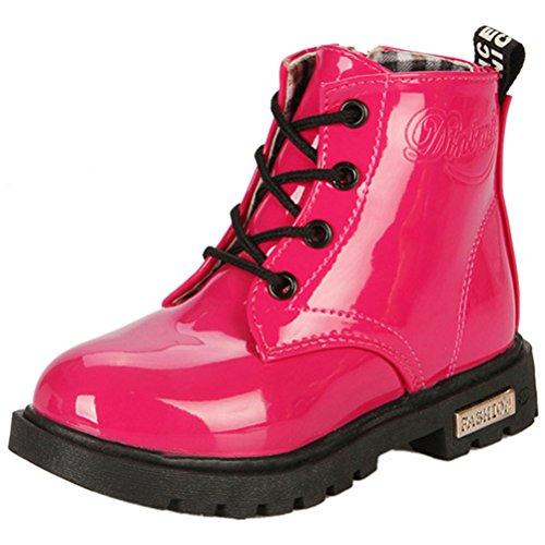 LONSOEN Boys Girls Waterproof Lace/Zip Up Kids Boots, Hot Pink, 13 M US Little (Hot Girls Boots)