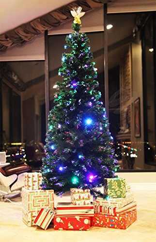 Angels Tree Skirt (8 FT PRE-LIT MULTI COLOR LED LIGHTS & FIBER OPTIC CHRISTMAS TREE WITH ANGEL TOPPER)