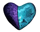 JING GREAT Mermaid Throw Pillow with Insert,Two-Color Heart Shape Reversible Sequins Decorative Pillow. 13''×15'' (Bright Green+Bright Purple)