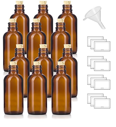 2 oz Amber Glass Boston Round Bottle with Cork Stopper Closure (12 Pack) + Funnel and ()