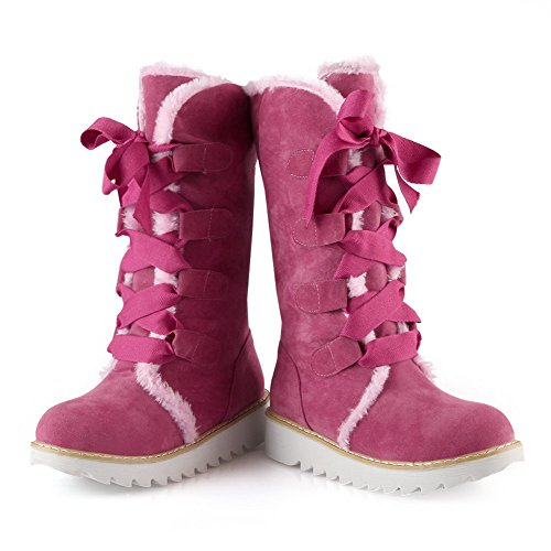 Low up Women's Mid Pink Heels top Boots Solid Round Lace AgooLar Closed Toe dzwq4wX