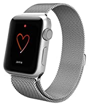 LINGLU 38 mm Stainless Steel Loop Band with Magnet Lock for Apple Watch - Silver