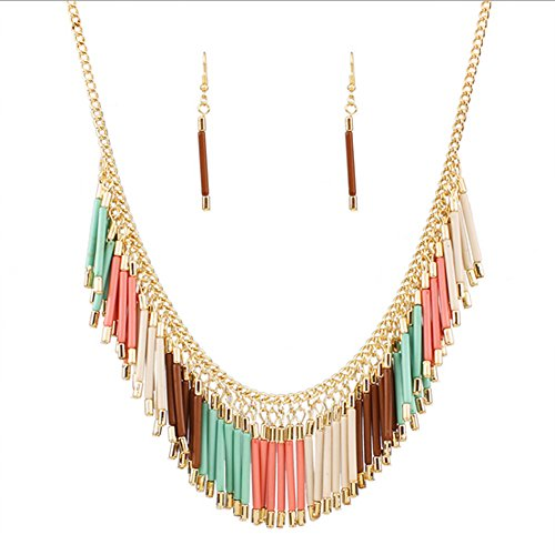 onal Wind Hand-woven Tassel Necklace Sets(Multicolor) ()