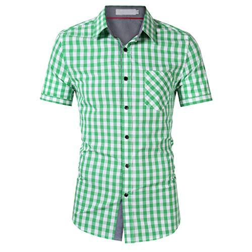 - Button Down Shirts for Men,Casual Short Sleeve Plaid Standard-Fit Comfort Collar Shirt (L, Green)
