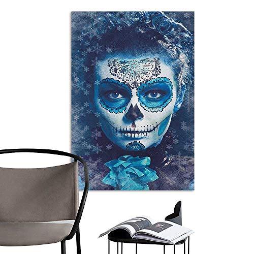 Jaydevn Decals for Home Room Decoration Sugar Skull Santa Muerte Concept Winter Season Ice Cold Snowflakes Frozen Dead Folkloric Multicolor Office Fashion W24 x H36 -