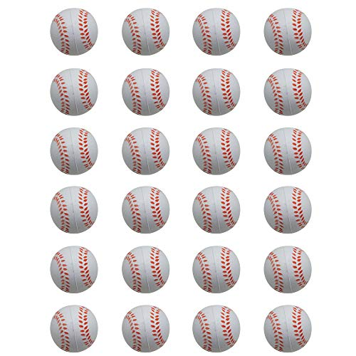24 Counts Kids Toy Baseball Stress Ball, Mini Foam Squeeze Sports Ball Toys for Kids Fun Party Favors Anxiety Relief by -