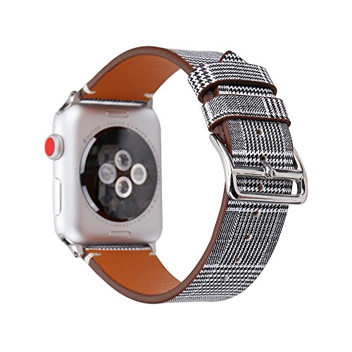 Conelelife Apple Watch Band 38mm/40mm, Houndstooth Print Leather Replacement iWatch Band Strap with Stainless Steel Metal Clasp for Apple Watch Series 4 Series 3, Series 2, Series 1, Sport, Edition