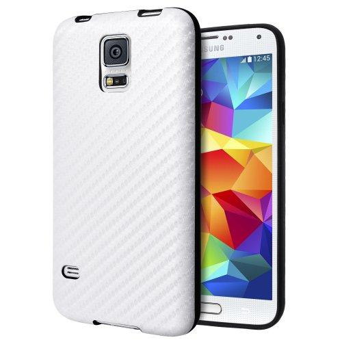 Cimo Samsung Galaxy S5 Case [Edurus Series] Premium Carbon Fiber TPU Cover for Galaxy S5 / Galaxy SV / Galaxy S V (2014) - White