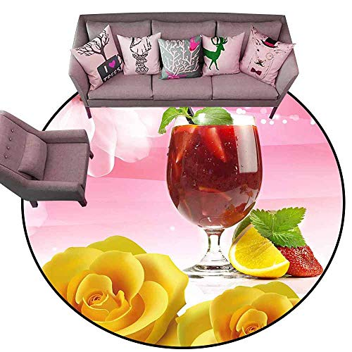 Thin Non-Slip Kitchen Bathroom Carpet Colorful Red Wine and Yellow Champagne Diameter 72