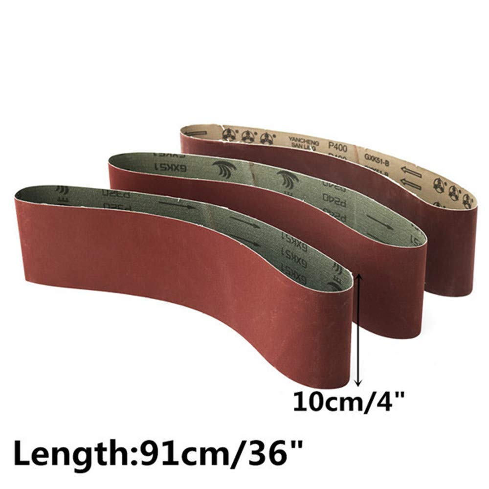 Moonvvin 3 Unidades Cintas de Lija abrasiva de /óxido de Aluminio 10 x 91 cm Grano 240//320//400
